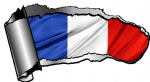 Ripped Open Gash Torn Metal Design With France French National Flag Motif External Vinyl Car Sticker 140x75mm